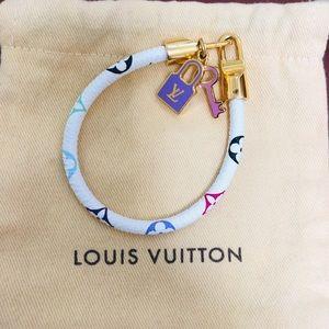 Louis Vuitton Leather Monogrammed Charm Bracelet